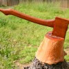 Carved Folk Art Ax in Stump