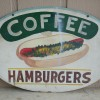 Large Folk Art Painted 1950′s Diner Sign