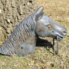 Huge 19C Cast Iron Horse Head Hitching Post