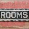 1910-1920′s Reverse Painted Glass ROOMS Sign