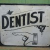 Early 1900′s Painted Tin DENTIST Sign with Hand
