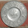 18th Century Ornate Pewter Communion Plate