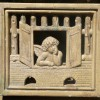 Great Victorian Stove Tile with Winged Cherub