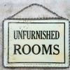 Reverse Glass Painted UNFURNISHED ROOMS Sign