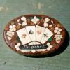 19C Inlaid Stone Poker Chip