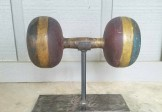 Folk Art Wood Circus Barbell
