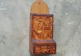 Folk Art Parquetry Match Holder
