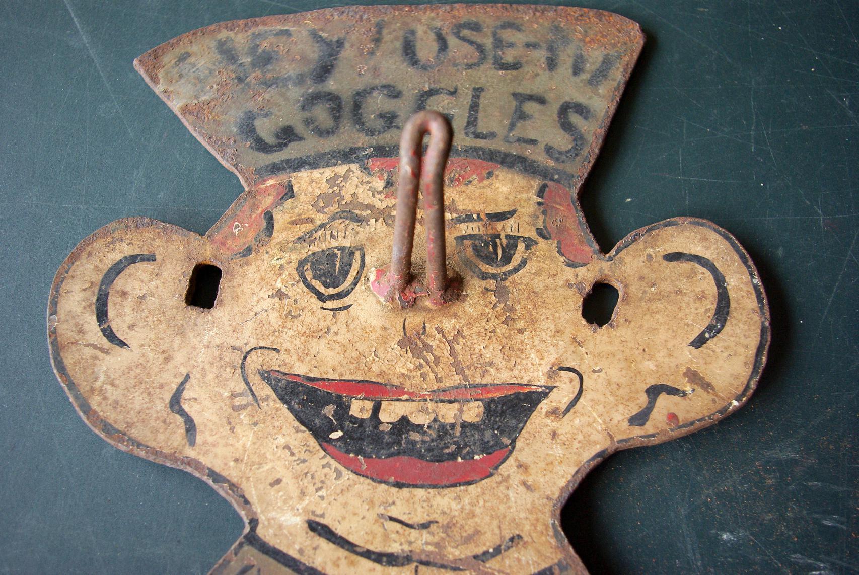 Folk Art Sheet Metal Machine Shop Goggles Holder Zachary