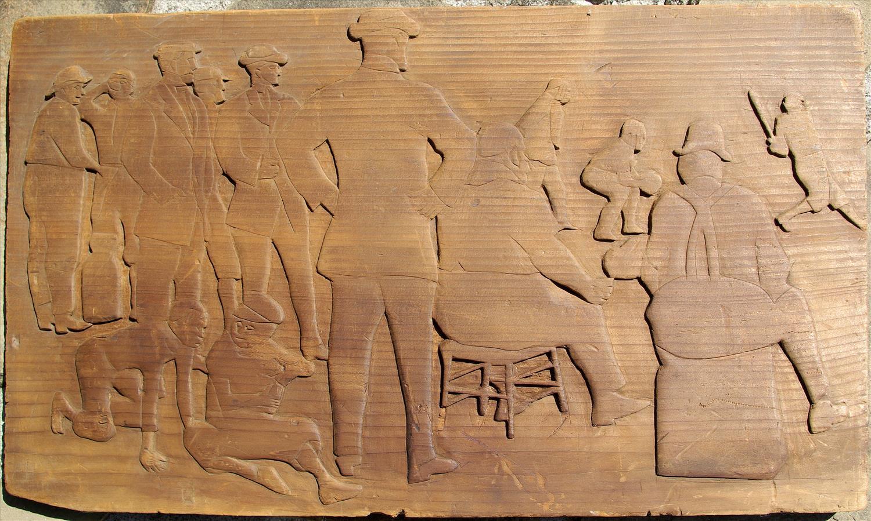 Folk art relief carved pine baseball game scene zachary