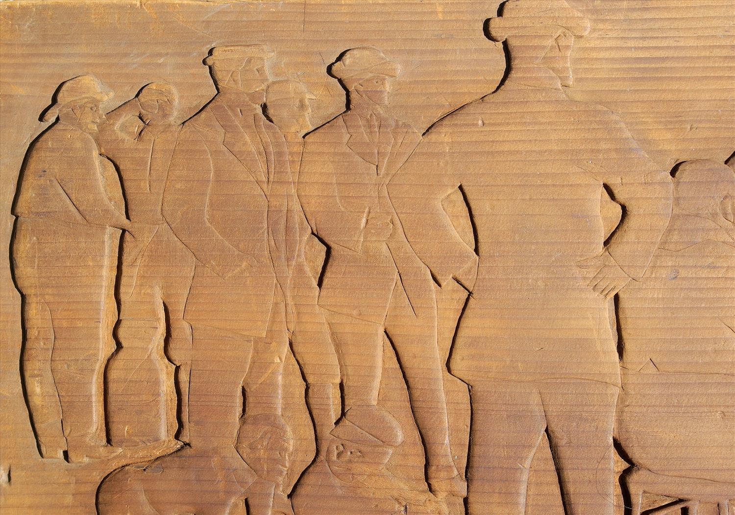 Folk art relief carved pine baseball game scene zachary