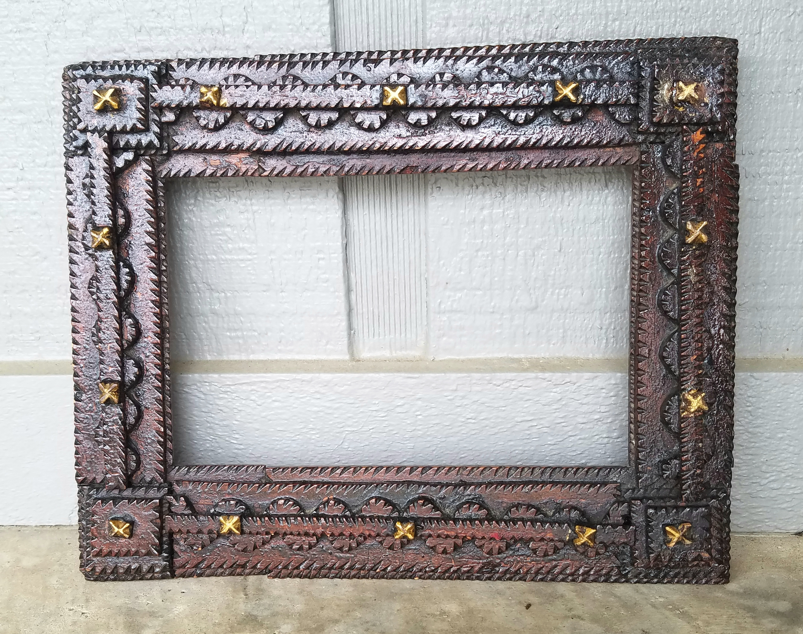 Early 1900s Tramp Art Frame | Zachary Miller Antiques